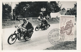 D32018 CARTE MAXIMUM CARD RR 1955 CZECHOSLOVAKIA - MOTOR CYCLE RACING CAR CP PHOTOCARD - Motorbikes