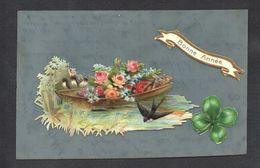 CPA FANTAISIE CELLULOID AJOUTIS DECOUPIS CHROMO - Oiseau Hirondelle Barque Bateau Fleurs Etang Rivière Bonne Année -#580 - Nouvel An