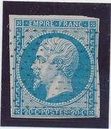 20 C N° 14 Bleu Obl Rouleau De Pointillés Fins B. - 1853-1860 Napoléon III.