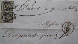 LOT R1593/25 - CERES (PAIRE) N°3 Oblitérations : GRILLES NOIRES - LYON / FEVRIER 1850 > PARIS - Cote : 320,00 € - 1849-1850 Ceres