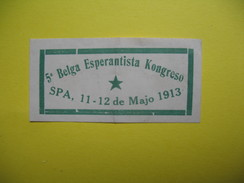 Vignette    5 A Belga Esperantista Kongreso  SPA  1913 - Erinnophilie