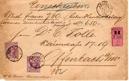 11 MEI 95 Aangetekende Waardebrief Van Amsterdam Naar Offenbach Met 2x NVPH 42 (Juist Tarief) - Periode 1891-1948 (Wilhelmina)