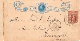 Postblad G1 Met Bijfrankereing Hangend Haar NVPH36 Van TILBURG Naar Donauwirth Bayern - Postal Stationery