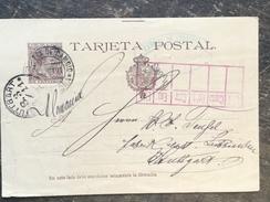 B17 Spanien Spain Espagne Ganzsache Stationery Entier Postal P 27I Von Barcelona Nach Stuttgart - Stamped Stationery