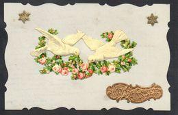 CPA FANTAISIE CELLULOID DENTELEE AJOUTIS DECOUPIS CHROMO - 1913 - Oiseau Colombe Couronne Fleurs Bonne Année -#584 - Fantaisies