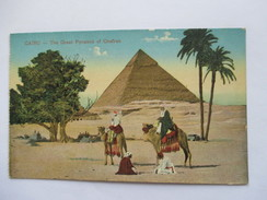 EGYPTE  -   LE CAIRE    -    LA  GRANDE PYRAMIDE  DE CHEFREN     TRES ANIME            TTB - Cairo