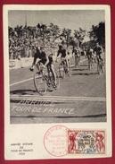 TEMATICA CICLISMO  TOUR DE FRANCE  ARRIVEE D'ETAPE  DEL 1953 CARTOLINA UFFICIALE DEL CINQUANTENARIO 1903-1953 - Ciclismo