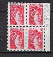"""FR Coins Datés YT 1974 """" Sabine 1F20 Rouge """" Neuf** Du 20.9.78 Carnet - Coins Datés"""