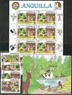 Anguilla,  Scott 2017 # 648-652,  Issued 1985,  Set Of 5, Sheet Of 8, S/S Of 1,  MNH,  Cat $ 35.05,  Disney - Anguilla (1968-...)