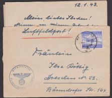 Luftfeldpost Tante JU 52, 1943, Abs. Fp-Nr. L21092 Nach Dresden Mit Inhalt - Posta Aerea