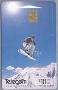 NZ.- TELECOM NEW ZEALAND PHONECARD. $ 10. SNOWBOARDING.- 2 Scans. - Sport