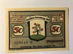 Allemagne Notgeld Annaburg 50 Pfennig - [ 3] 1918-1933 : Weimar Republic