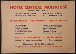 ANCIEN DOCUMENT PUBLICITAIRE-HOTEL CENTRAL MULHOUSE - Pubblicitari