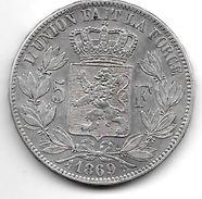 *belguim 5 Francs  Leopold II  1869  Vf+ - 1865-1909: Leopold II