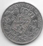 *belguim 5 Francs  Leopold II  1872 Vf+ - 1865-1909: Leopold II