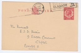 1938 Bristol GB GV Postal STATIONERY CARD Cover Stamps - Stamped Stationery, Airletters & Aerogrammes