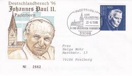 Germany Cover 1996 Pope John Paul II Visiting Paderborn  (DD13-18) - Brieven En Documenten