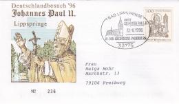 Germany Cover 1996 Pope John Paul II Visiting  Lippspringe  (DD13-18) - Brieven En Documenten