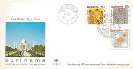 Suriname 1973 Paramaribo Taj Mahal Hinduism Immigration FDC Cover - Hinduism