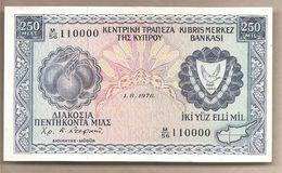 Cipro - Banconota Circolata QFdS Da 250 Mils - 1976 - Bel Numero Seriale - Cipro