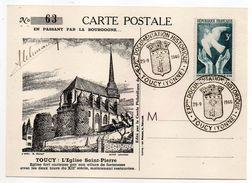 1946--Carte-Maximum--Souvenir Philatélique TOUCY-89--illustration Eglise St Pierre-cachets Commémoratifs  Expo Doc Histo - Commemorative Postmarks