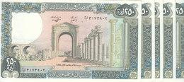 LEBANON 250 LIVRES 1988 P- 67e Lot X5 UNC Notes */* - Lebanon