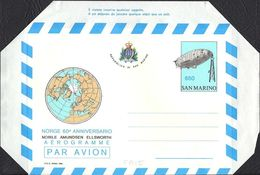 "SAN MARINO - INTERI POSTALI - AEROGRAMMA - AEROGRAMME - NORGE - L. 650 - 1986 - CATALOGO FILAGRANO ""A15"" - NUOVO - Poste Aérienne"