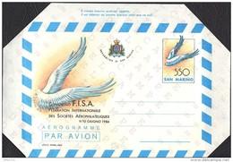 "SAN MARINO - INTERI POSTALI - AEROGRAMMA AEROGRAMME - F.I.S.A. (FISA) - L. 550 - 1984 - CATALOGO FILAGRANO ""A13"" - NUOVO - Poste Aérienne"