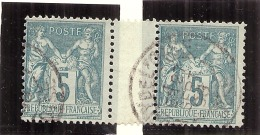 Type Sage Type II   N° 75 Paire Avec Inter Panneau - 1876-1898 Sage (Type II)