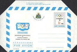 """AEROGRAMMA ESPOSIZIONE INTERNAZIONALE FILATELIA OLIMPICA OLIMPHILEX - L. 600 - 1985 - CATALOGO FILAGRANO """"A14"""" - NUOVO - Poste Aérienne"""
