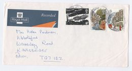 1993 RECORDED DELIVERY LABEL GB COVER St Austell  Franked Coal Mining  Pillarbox Post Box Stamps - 1952-.... (Elizabeth II)