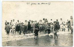 Photo Carte ST JEAN DE MONTS 1928 Ou 29 Important Groupe Sur La Plage Femmes Enfants Chiens - Ecrite Voyagé - Saint Jean De Monts
