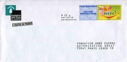 """POSTREPONSE LETPRIO """"Fondation Abbé Pierre"""" Avec Timbre """"Merci"""" - Au Verso N° 10P357 (format 105 X  212 Mm) - Entiers Postaux"""