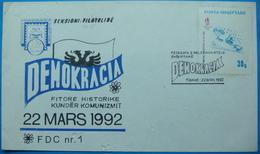 22 MARCH 1992 FDC HISTORIC WIN OVER COMMUNISMUS, TIRANA - Albania