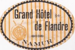 FRANCE -  HOTEL LUGAGGE  LABEL - GRAND HOTEL DE FLANDRE - NAMUR - Hotelaufkleber