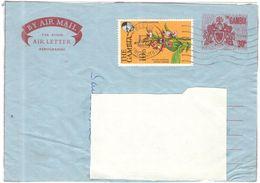 GAMBIA - 1980 - 30c Aerogramme + 10b Broad Leaved Ground Orchid - Big Fragment - Viaggiata Da Banjul Per ???? - Gambia (1965-...)