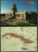 2 X Cuba  -  Landkarte + La Habana / El Capitolio  -  Ansichtskarten Ca.1990    (groß) - Postcards