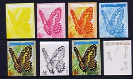 Burundi 1973 Butterfly Progressive Proof Set Showing Progressive Colours - Burundi