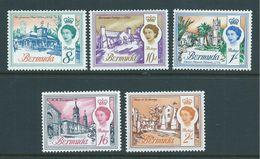 Bermuda 1962 QEII Building Definitives Sideways Watermark Part Set Of 5 To 2/- MNH - Bermuda