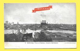 CPA BALTIMORE Bird S Eye View Harbor Précurseur - Baltimore
