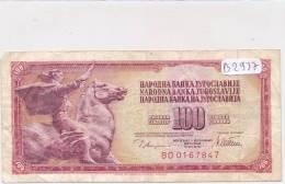Billets -B2937-Yougoslavie -100 Dinara 1978 (type, Nature, Valeur, état... Voir  Double Scans) - Yugoslavia