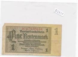 Billets - B2930-  Allemagne - 1 Rentenmark  1937( Type, Nature, Valeur, état... Voir Double  Scans) - Other