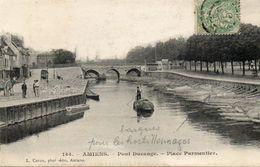 CPA - AMIENS (80) - Aspect Du Pont Ducange , De La Place Parmentier Et Des Barques Servant Aux Hortillonnages En 1904 - Amiens