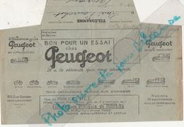 Télégramme Publicitaire PEUGEOT 1925 / Bon Pour Un Essai / Vélo Moto Auto / 92 Levallois Perret - France