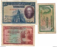 Spain Lot 3 Old Banknotes - [ 2] 1931-1936 : República