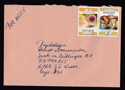 Burundi: Airmail Cover To Netherlands, 2 Stamps, Mushrooms, Rare Real Use (minor Damage, See Scan) - Andere