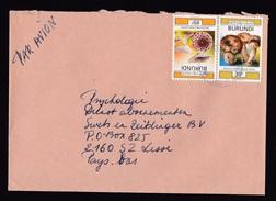 Burundi: Airmail Cover To Netherlands, 2 Stamps, Mushrooms, Rare Real Use (minor Damage, See Scan) - Burundi