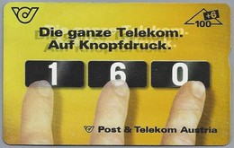 AT.- Telefoonkaart. Post & Telekom Austria. Di Ganze Telekom Auf Knopfdruck. 160. Bleiben Wir Im Gesprach. 2 Scans. - Oostenrijk