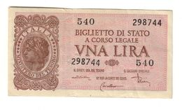 Italy 1 Lira 1944 Di Cristina .L. - Italia – 1 Lira