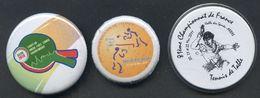 TENNIS DE TABLE - Lot De 3 Badges Compétitions TT - Tischtennis - Table Tennis